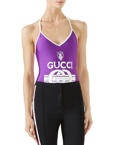 One-Piece Swimsuit in Sparkling Lycra® w/ Gucci Print