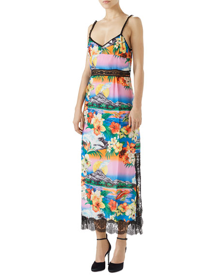 Sleeveless Hawaiian-Print Silk Georgette Dress w/ Lace