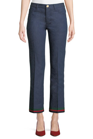 Gucci Rinsed Denim Straight-Leg Jeans with Ribbon Hem & Bunny Patch