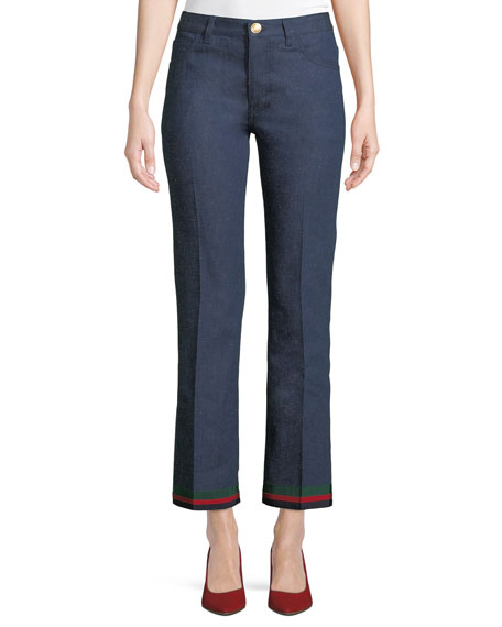 Gucci Rinsed Denim Straight-Leg Jeans with Ribbon Hem