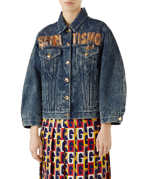 Oversized Embellished Appliquéd Denim Jacket, Blue Denim