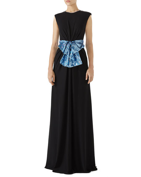 Sleeveless Jersey Evening Gown w/ Sequin Bow