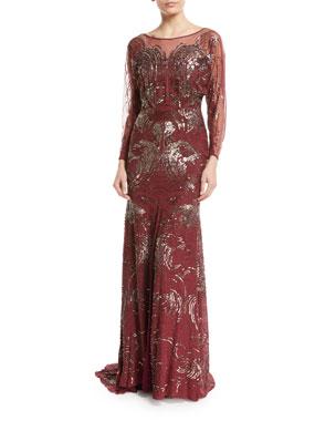 10aa7952 Jenny Packham Long-Sleeve Swirl Sequin Beaded Evening Gown