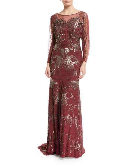 Jenny Packham Long-Sleeve Swirl Sequin Beaded Evening Gown