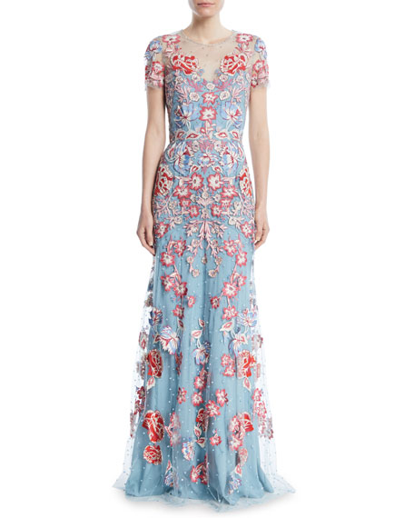 Floral-Embroidered Short-Sleeve Evening Gown