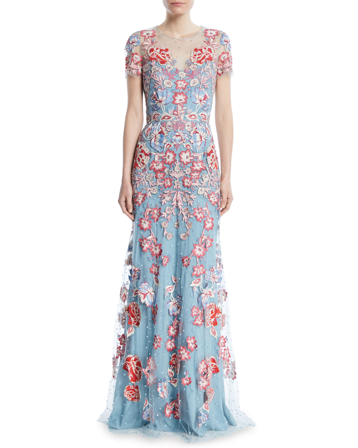 Jenny Packham Floral-Embroidered Short-Sleeve Evening Gown | Neiman ...