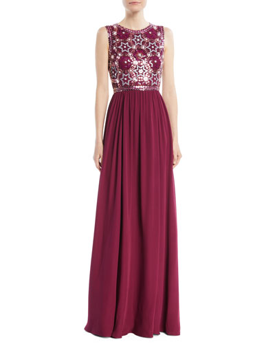Star-Sequin Embroidered Top with Chiffon Skirt Evening Gown
