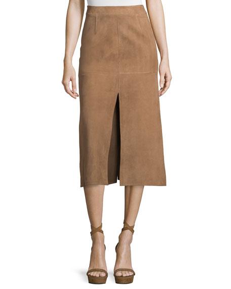 Agnona Mid-Rise Skirt W/Side Slit, Phard Brown