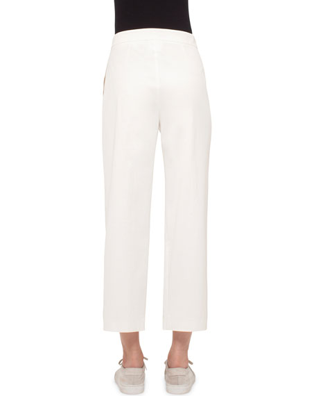 Pleated-Front Wide-Leg Cropped Pants