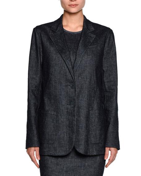 Denim Two-Button Jacket, Indigo Blue