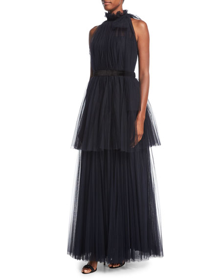 Tiered Tulle Halter Gown