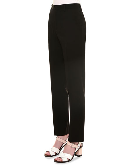 Alfred Flat-Front Pants, Black