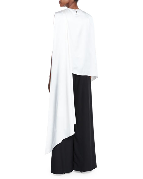 One-Shoulder Draped Blouse, Ivory