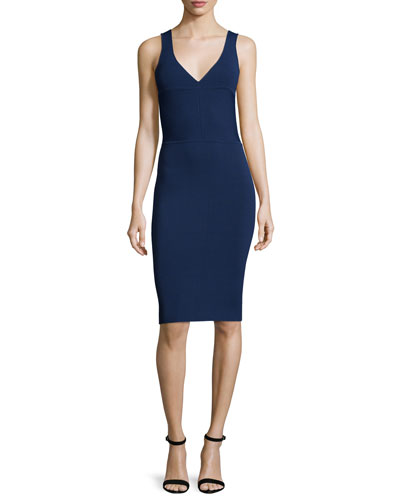 Sleeveless Harness-Back Sheath Dress, Navy