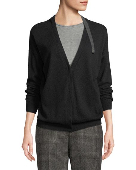 Cashmere V-Neck Monili-Strap Cardigan Sweater