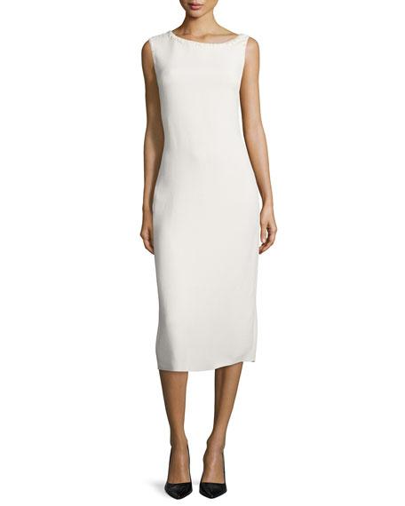 Sleeveless Asymmetric-Neck Bias-Cut Dress, Cream