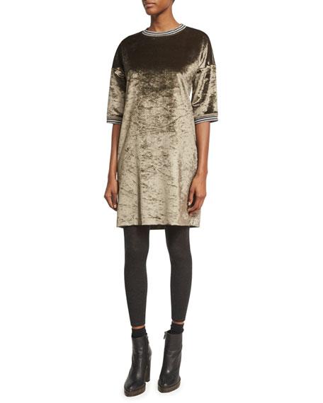 Brunello Cucinelli Velvet 1/2-Sleeve Dress with Varsity Stripes