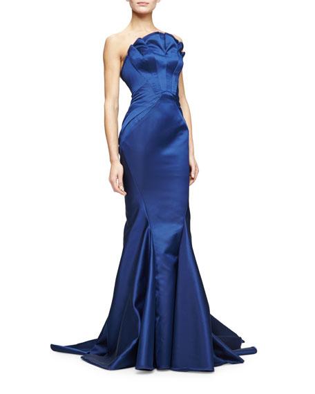 Strapless Woven Mermaid Gown, Indigo