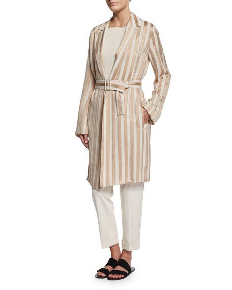 Stervis Striped Jacket W/Belt, Blush/Ivory Stripe