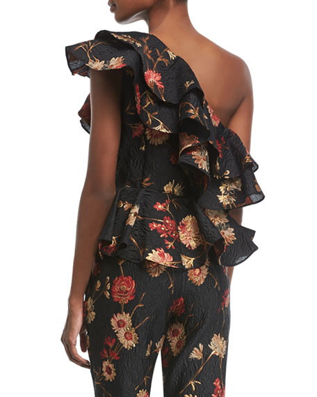 One-Shoulder Floral-Jacquard Peplum Ruffled Top
