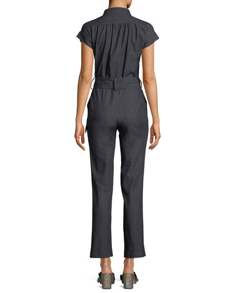 Cap-Sleeve Zip-Front Straight-Leg Denim Jumpsuit