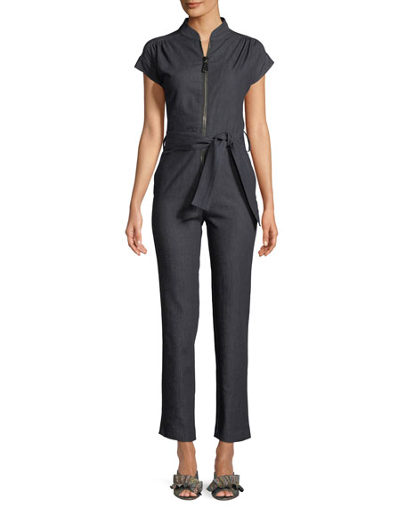 Carolina Ritzler Cap-Sleeve Zip-Front Straight-Leg Denim Jumpsuit