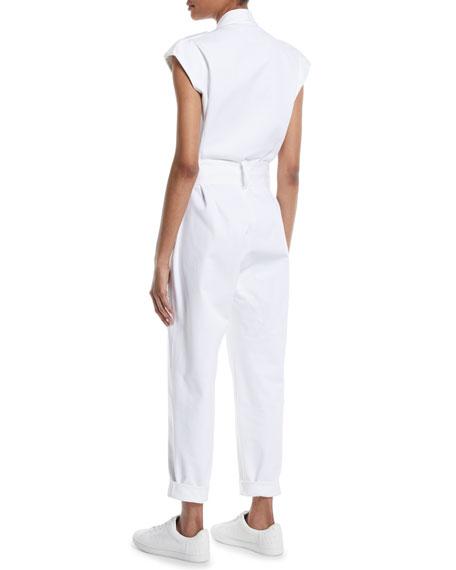 Bathilde Cap-Sleeve Zip-Front Straight-Leg Utility Denim Jumpsuit