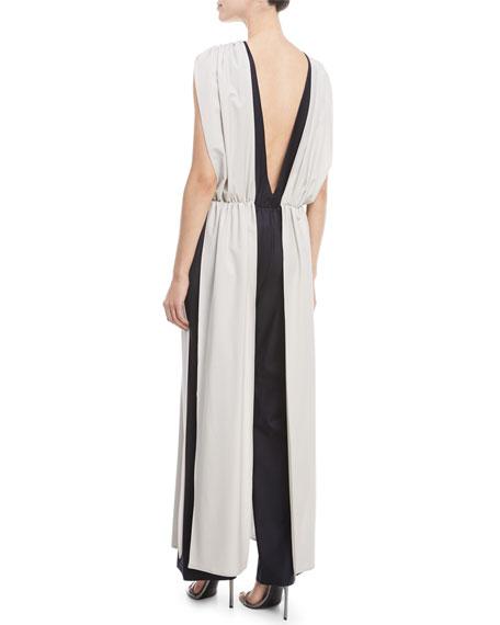 Palace Sleeveless V-Back Stretch-Wool Vest Over Pants Jumpsuit
