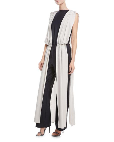 Carolina Ritzler Palace Sleeveless V-Back Stretch-Wool Vest Over