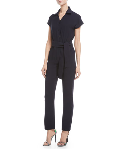 Crisscross Open-Back Short-Sleeve Straight-Leg Crepe Jumpsuit