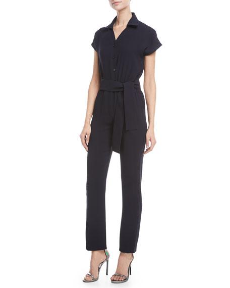 Crisscross Open-Back Short-Sleeve Straight-Leg Crepe Jumpsuit