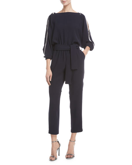 Carole Shoulder-Zip Straight-Leg Jumpsuit