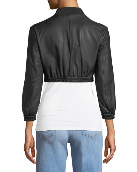 Zip-Front Cropped Ruched-Waist Leather Jacket