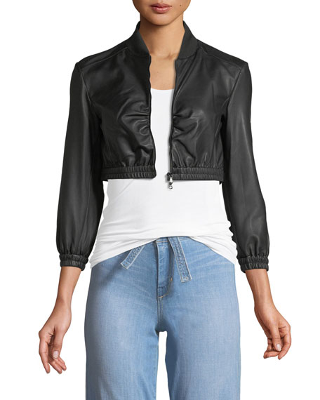 Zip Front Cropped Ruched Waist Leather Jacket by Emporio Armani