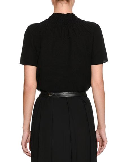 Smocked-Collar Short-Sleeve Tucked  Blouse