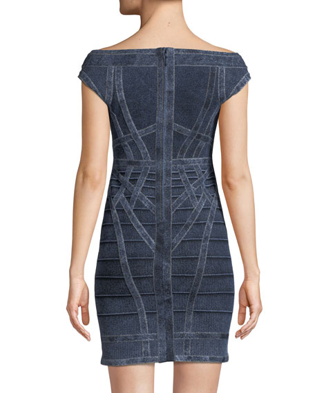 Off-the-Shoulder Denim Bandage Cocktail Dress