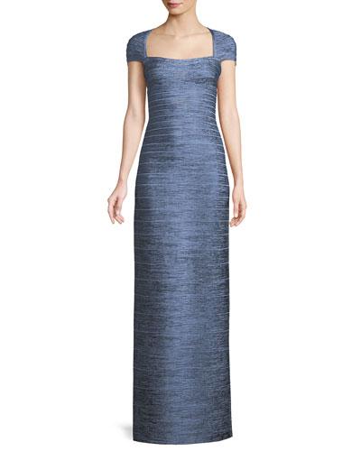 Cap-Sleeve Foil Column Evening Gown