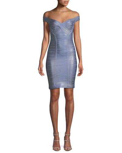 Off-the-Shoulder Bandage Foil Body-con Cocktail Dress