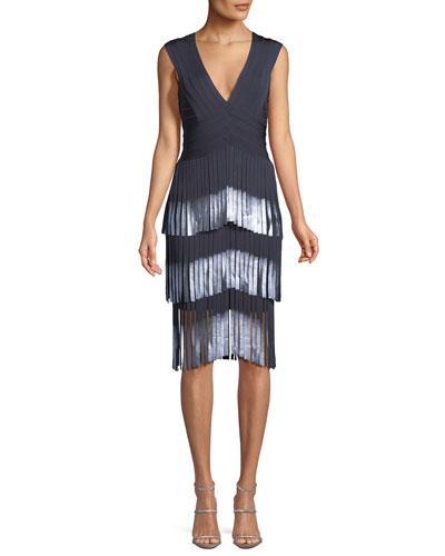 V-Neck Sleeveless Fringe Cocktail Dress w/ Dipped Foil Tips
