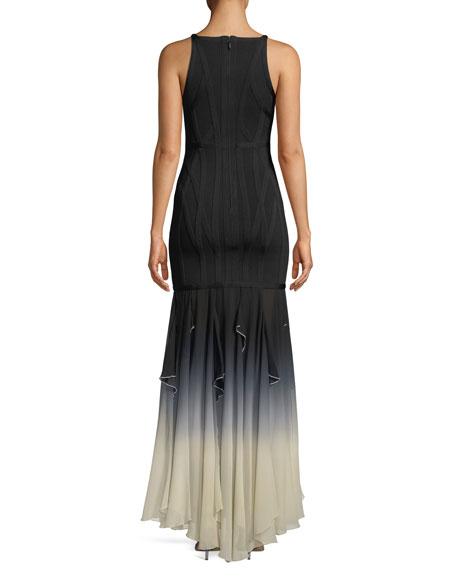 V-Neck Sleeveless Bandage Evening Gown with Ombre Chiffon Skirt