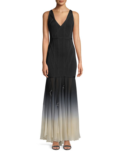 V-Neck Sleeveless Bandage Evening Gown w/ Ombre Chiffon Skirt