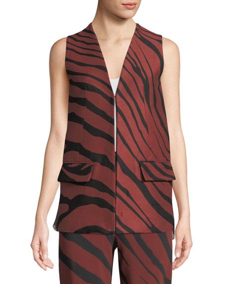 Zebra-Jacquard Hook-Front Vest w/ Plisse Chiffon Back