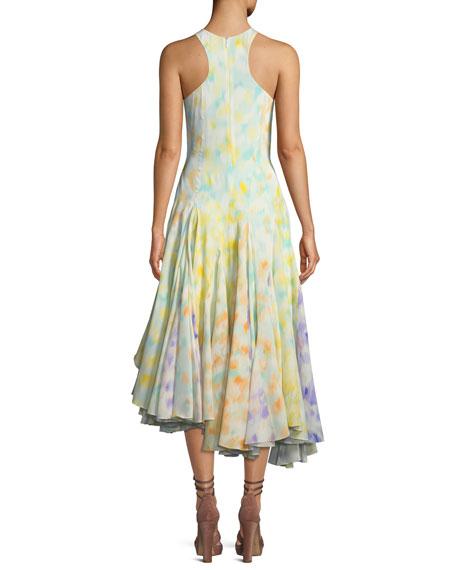 Sleeveless Vapour Leopard-Print Crepe de Chine Dress