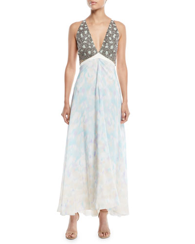 Sleeveless V-Neck Leopard-Print Chiffon Evening Gown w/ Embellished Bust