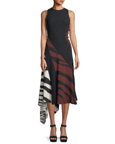 Sleeveless Double Stretch Crepe Zebra-Print Midi Dress