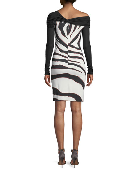 Bateau-Neck Long-Sleeve Ruched-Top Zebra-Print Bottom Dress
