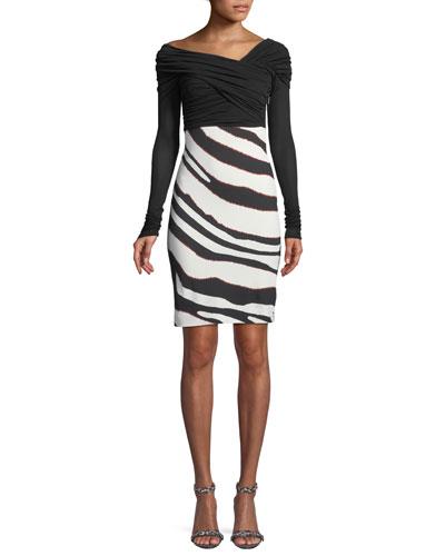 Bateau-Neck Long-Sleeve Ruched-Top Zebra-Print Bottom Dress
