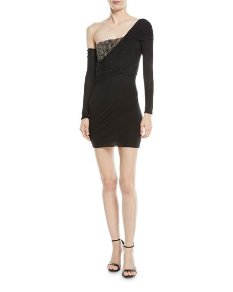 Asymmetric Beaded Bust Mini Dress