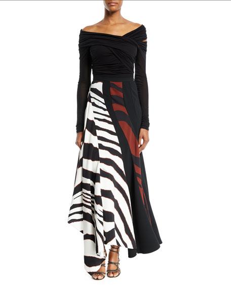 Multi-Shadow Zebra-Print Crepe Maxi Skirt