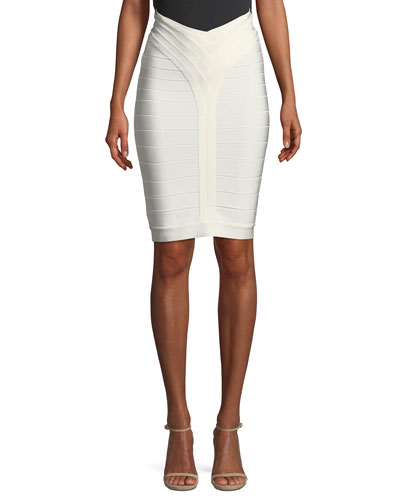 Bandage-Knit Above-the-Knee Body-Con Skirt